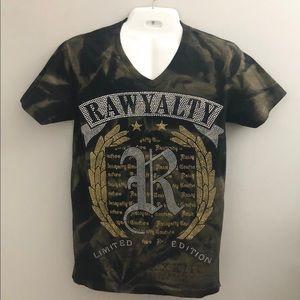 RAWYALTY BLACK LABEL Bling Monogram V-Neck Tshirt